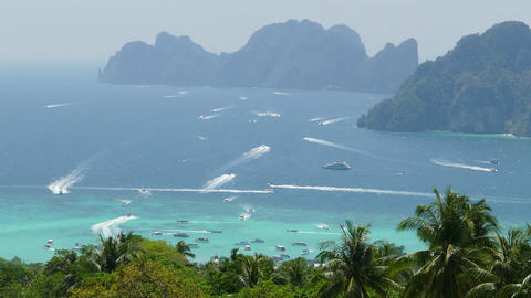 Many tourist yachts near Phi Phi island Footage