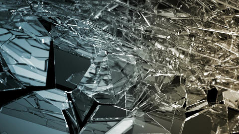 Pieces of destructed Shattered glass in slow motion. Alpha matte CG動画素材