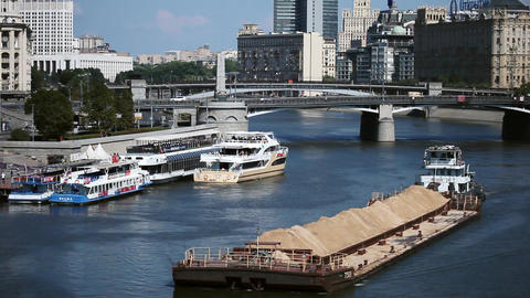 Barge floats on the Moscow river in Moscow city GIF