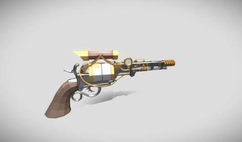 Steam punk revolver 3D Model