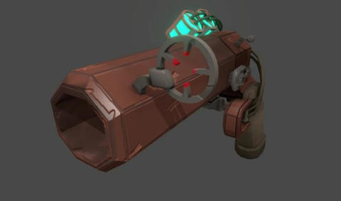 Animated steampunk hand cannon 3D Model