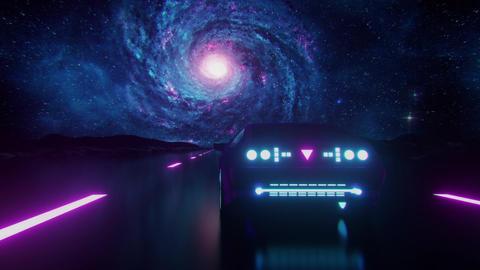 3D Blue Purple Synthwave Galaxy Retro Landscape VJ Loop Motion Background Animation
