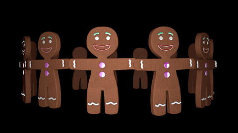 Happy Gingerbread Men Cookies Endlessly Rotating In Seamless Isolated Video Loop Animation