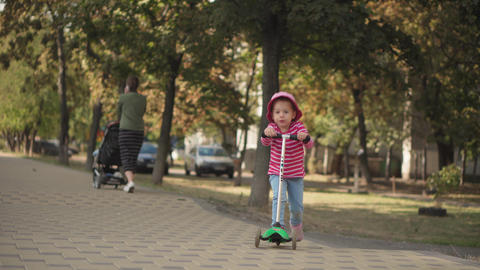 Childhood, family, vacation, transport concepts - preschool age slavic kid girl Live Action