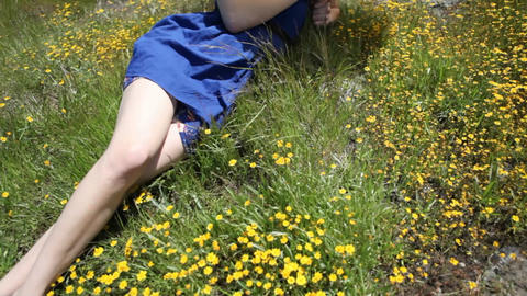 A woman with an umbrella is lying in a field Stock Video Footage