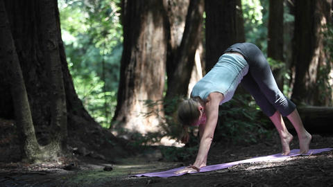 A young caucasian woman practicing yoga in the woods along a river Footage