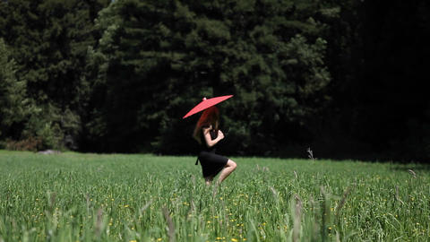 A woman with an umbrella walks through a field Footage