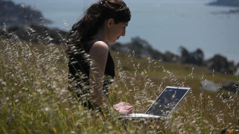 A woman using a laptop sits in a field by the shore Stock Video Footage