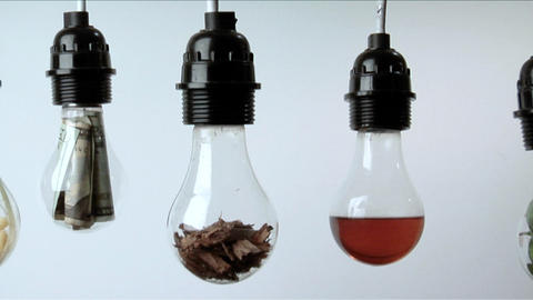 Light bulbs containing plant matter, folded money and red liquid hang in a row against a white backg Footage
