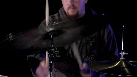 A drummer plays the cymbals Footage