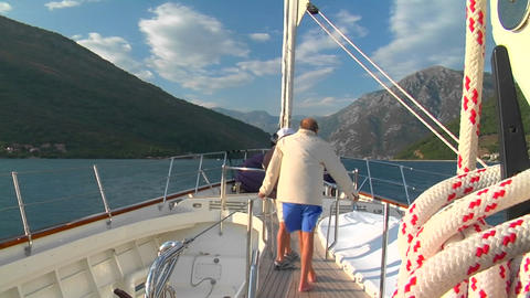 A sailboat's deck as it moves across the Mediterranean Stock Video Footage