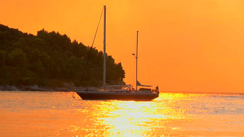 A yacht is moored by the seashore Footage