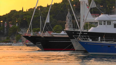 Croatian sunset with the view of ship's bows Stock Video Footage