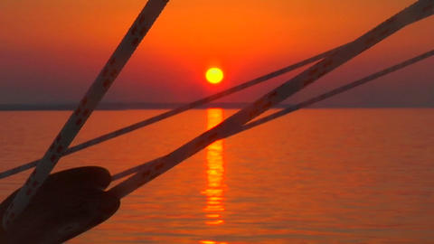 A Croatian sunset is visible through the ship's lines as... Stock Video Footage