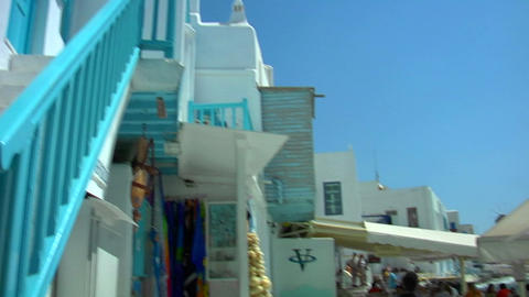 Beautiful view in the streets of Mykonos, Greece Footage