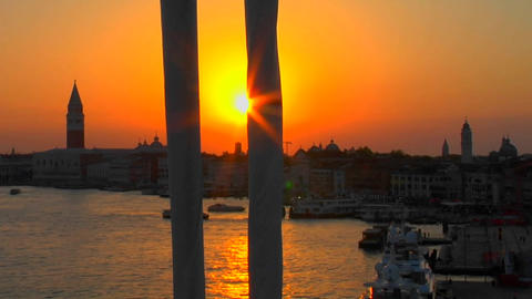 Beautiful silhouetted view of a sunset of Venice, Italy... Stock Video Footage
