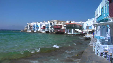 View of Mykonos, Greece shore as waves crash Stock Video Footage