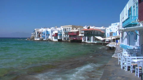 View of Mykonos, Greece shore as waves crash Footage