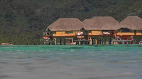 Tahitian huts on the water Stock Video Footage