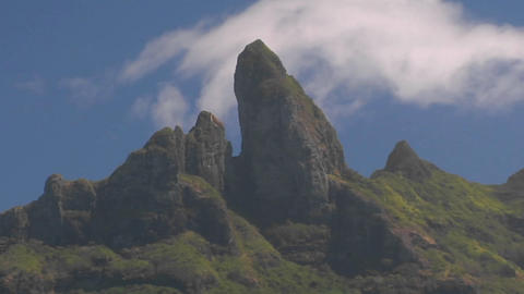 Bora Bora's mountain peak with clouds passing Stock Video Footage