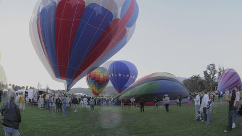 Night Time Lapse Of The Balloon Glow At The Citrus Classic Balloon Festival In Santa Paula, Californ stock footage
