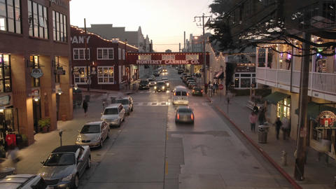 Time lapse at dusk of tourists on historic Cannery Row in... Stock Video Footage