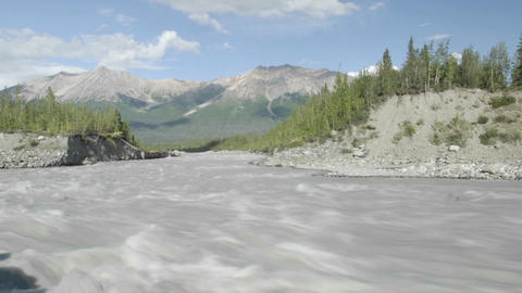 Time lapse of clouds over the Wrangell Mountains and Kennicott River in Wrangell - Saint Elias Natio Footage