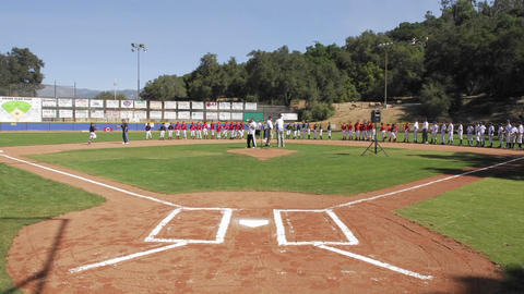 Time lapse of Oak View Little League on opening day in... Stock Video Footage