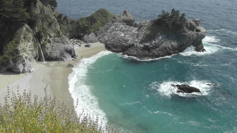Time lapse of waves breaking at McWay Falls in Julia Pfeiffer Burns State Park in Big Sur, Californi Footage