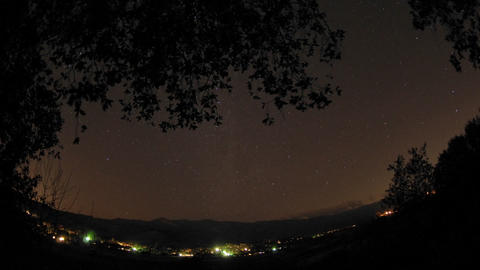 Night time lapse of startrails below an oak tree above... Stock Video Footage