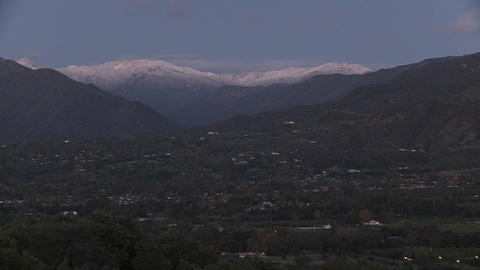 Time lapse of sunrise after a snowstorm above Ojai, California Footage