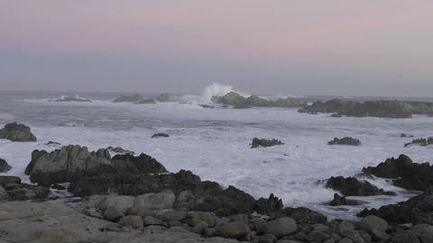 Time lapse of waves breaking on the rocks at Point Pinos... Stock Video Footage