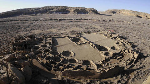 Time lapse of shadows moving across Pueblo Bonito in... Stock Video Footage