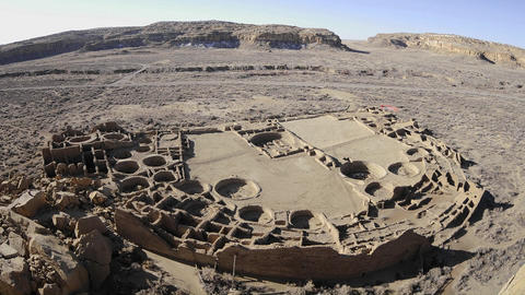 Time lapse of shadows moving across Pueblo Bonito in Chaco Culture National Historical Park, New Mex Footage