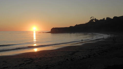Zoom in time lapse of sun setting over the Pacific Ocean at Refugio Beach State Park, California Footage