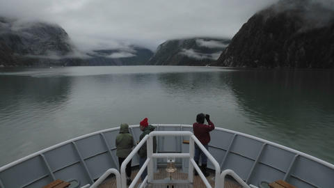 Point of view time lapse of a ship cruising towards... Stock Video Footage