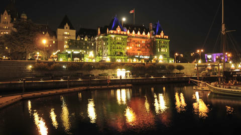 Night time lapse of the Fairmont Empress Hotel and... Stock Video Footage