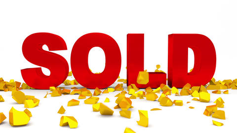 For Sale Text Crashed By Sold Word. stock footage