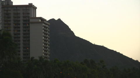 Early morning Diamond Head Stock Video Footage
