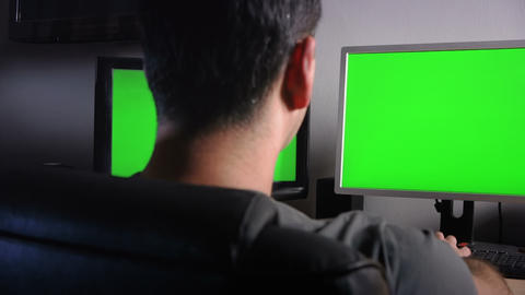 Office Desk Green Screens Stock Video Footage