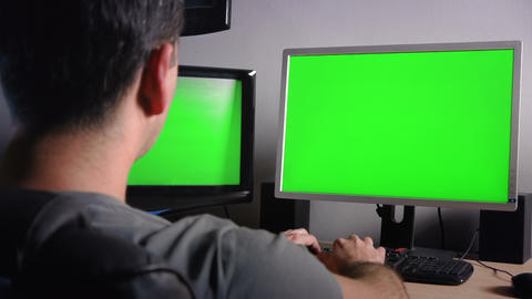 Office Desk Green Screens stock footage