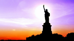 Statue of Liberty at sunset Footage