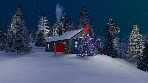 Rustic house and decorated Christmas tree at winter night Animation