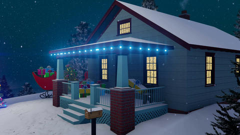 Santas house decorated for Christmas at snowfall night Animation