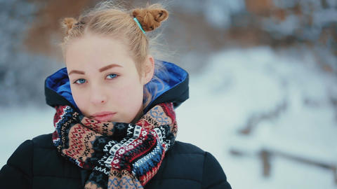 Portrait of Cute Blue-eyed Young Woman Footage