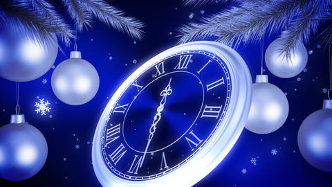 Silver New Year Clock Countdown On Blue Background. 3D Animation. 4K Animation