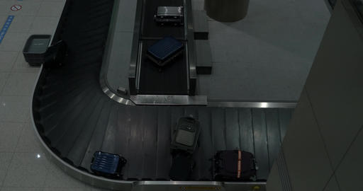 Timelapse of luggage arriving to baggage claim area Footage