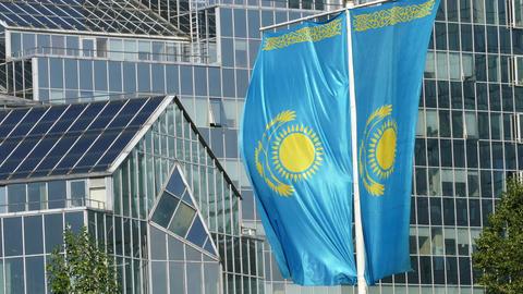 Kazakhstani Flag Background Building5 4K Footage