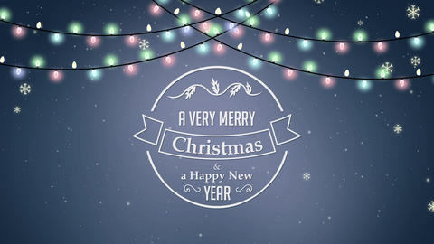 A Very Merry Christmas and Happy New Year With Garland Lights Animation