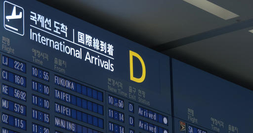 Flight schedule of international arrivals in Seoul airport Live Action